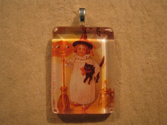 30% OFF Halloween Little Girl Witch Small Flat Rectangle Glass Pendant
