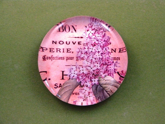 Lavender Lilac Floral Mini Round Glass Paperweight Floral Home Decor