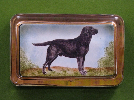 Black Labrador Retriever Dog Lover Rectangle Glass Paperweight Dog Portrait