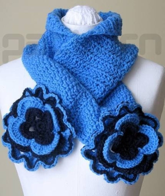 PDF pattern Blue Scarf with Flowers