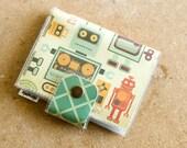 Women's Bifold Card Wallet - Vintage Robots