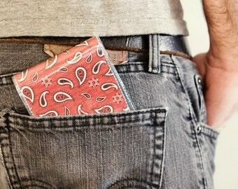Men's Wallet - Red Bandana - Handmade Vinyl