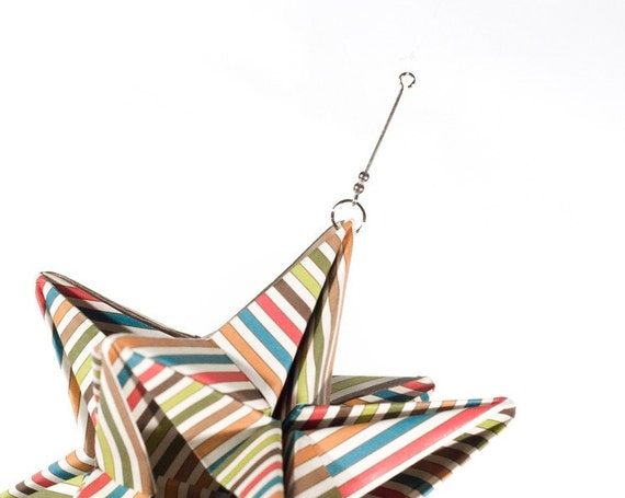 Paper Star Ornament - Origami - Circus Stripe