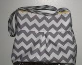 Grey Chevron Bag Purse Pleated Hobo Messenger  Diaper Bag in Grey Chevron - Large Size