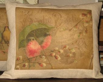 French Bird Postcard Pillow Vintage Style Brown Throw Pillow Decorative Cushion French Postcard Red Robin Bird Cottage Chic Decor