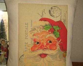 Christmas Pillow - Vintage Carte Postal Santa Claus Throw Pillow