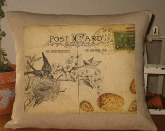 Decorative Pillow French  Postcard Bird Pillow Cover