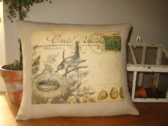 decorative pillow french carte postale bird pillow. Black Bedroom Furniture Sets. Home Design Ideas