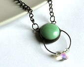 Sea Foam Green Crystal Drop -  Stained Glass Jewelry Necklace
