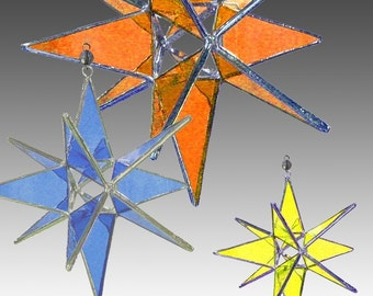 Three Stained Glass Moravian Stars , 3 Sizes Choose Your Colors,  Bundle Price. - Handmade Stained Glass Ornaments