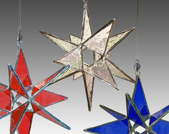 3 Miniature Moravian Stars, your colors, Wholesale price.- Handmade Stained Glass