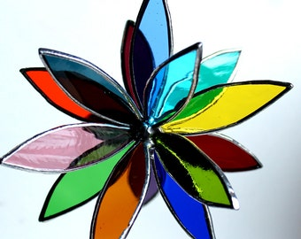 Stained Glass 3D Flower -Suncatcher - In Full Bloom - Rainbow