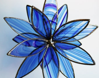 3D Stained Glass Suncatcher - In Full Bloom Blue Baroque Flower