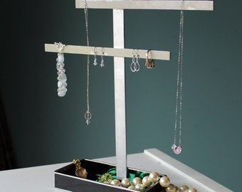 Made to Order -Stained Glass Jewelry Stand/Tree - Unique, Handmade, Brushed Aluminum - Stained Glass Box