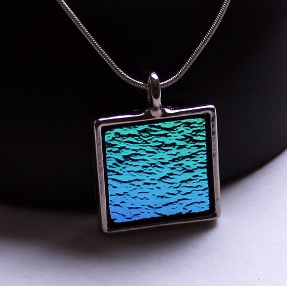 Dichroic Glass Jewelry Necklace - Metallic Blues