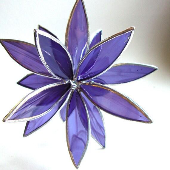 Stained Glass 3D Flower -Suncatcher - In Full Bloom - Purple Swirl
