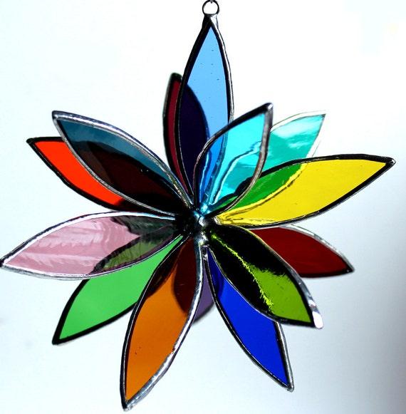 3D Stained Glass Suncatcher - In Full Bloom - Rainbow