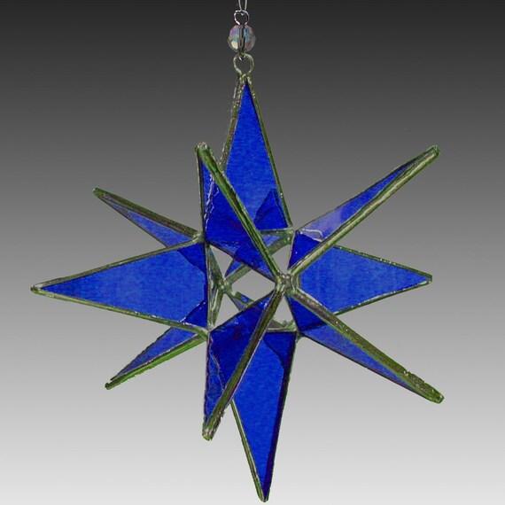 Miniature 3D Moravian Star-Cobalt Blue - Suncatcher, Ornament.- Handmade Stained Glass