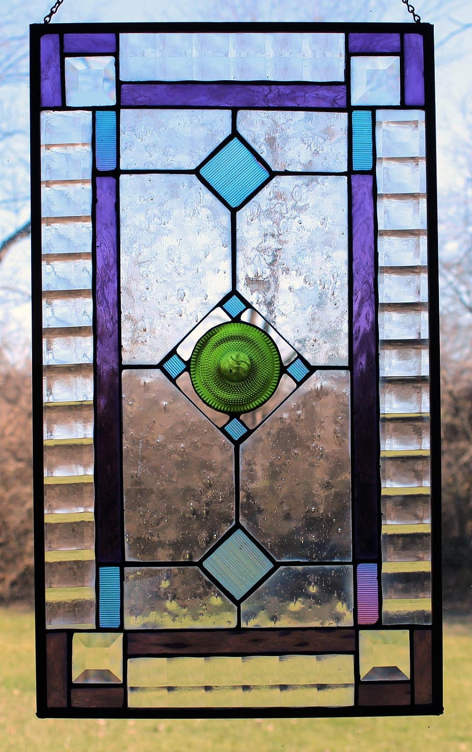 Glass Vs Leaded Stained Glass : Stained glass window panel dichroic recycled wine