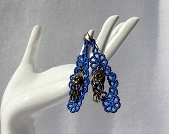EARRINGS - Chandelier Open - Royal Blue - Shoes -Flip Flops - Free Standing Lace Embroidery