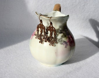 EARRINGS - Chandelier Petite - Brown - Chocolate - Copper Daisy - Free Standing Lace Embroidery - Medium