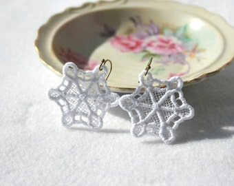 EARRINGS -  Snowflake  - White - Winter - Original design - Free Standing Lace Embroidery