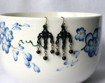 JEWELRY EARRINGS - Chandelier Petite - Black - Free Standing Lace Embroidery - Small