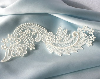 Cherry Blossom and Scroll BRIDAL LACE - Venice - Ivory - Altered Couture - Applique - Embroidery