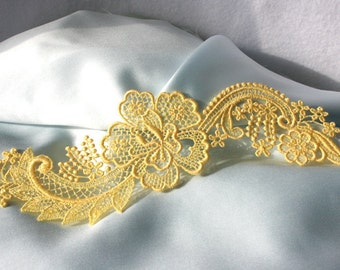 Hibiscus Flower and Scrolls LACE - Venice - Bridal - Soft Yellow - Altered Couture - Costume - Applique - Embroidery