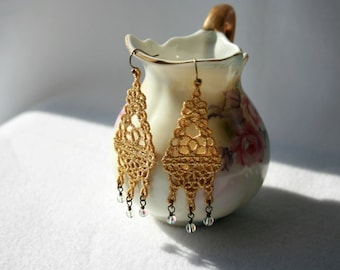 EARRINGS - Chandelier Long - Gold - Metallic - Free Standing Lace Embroidery