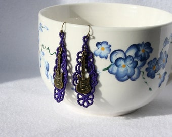 EARRINGS - Chandelier Open - Violet - Purple - Guitar - Free Standing Lace Embroidery