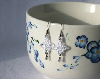 EARRINGS - Chandelier Plus Petite - White - Free Standing Lace Embroidery - Small