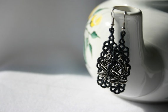 EARRINGS - Chandelier Open - Charcoal - Rose - Free Standing Lace Embroidery
