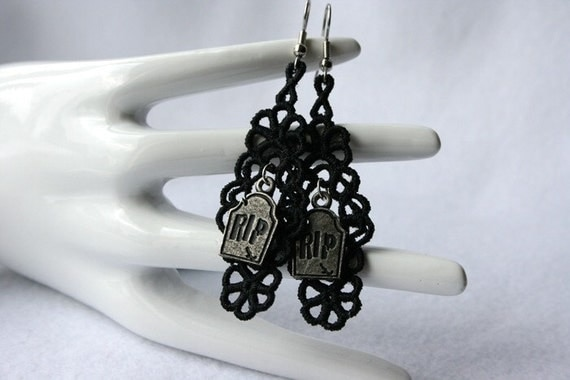 Halloween Jewerly EARRINGS - Chandelier Open - Black - RIP - Haunted - Free Standing Lace Embroidery
