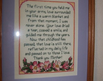 SALE  Hand Stitched Mother Tribute Framed Counted Cross Stitch Picture Mothers Day Honor Your Mother  Floral and Purple