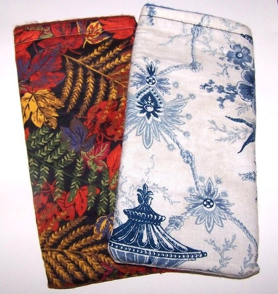 SALE Lot of 2 Shades of Blue Floral  and Fall Leaves EyeGlass Case Sunglass Case  Great Gift for Any Occasion
