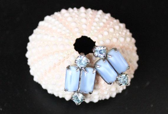 Something Blue - Vintage Art Deco Screw Back Earrings