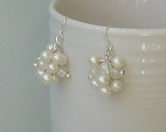 a PICK Your COLOR Ivory Pearl Cluster GIFT For BRIDESmaid WEDDing Bridal Earrings By DYEnamite