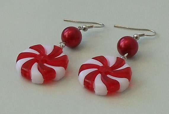 Beaded Peppermint Candy Holiday Chandelier Earrings, Handcrafted