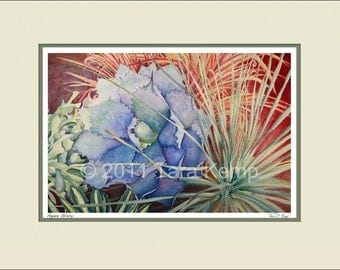 Agave Glory - Archival botanical signed print in a 11x14 mat, from original painting by Tara Kemp