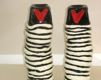 Heart and coil candlesticks