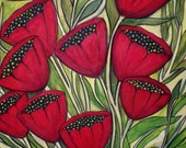 Acrylic painting of tulips on a repurposed cabinet door upcycled recycled wood cabinet