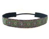 Non-Slip 1 Inch Multi Colored Metallic Pattern Woven Ribbon Headband