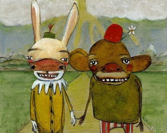 Single Greeting Card, Blank, Recycled Paper, Locally Printed, Friendship, Eco Friendly, Rabbit, Celebrating Relationship