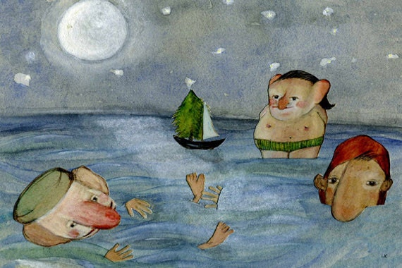 Whimsical Art Print/Matted/Reduced/Summer/Swimming/Moonlight/Archival/Children's Art/Nursery Art/Playful/Charming/11 x 14/