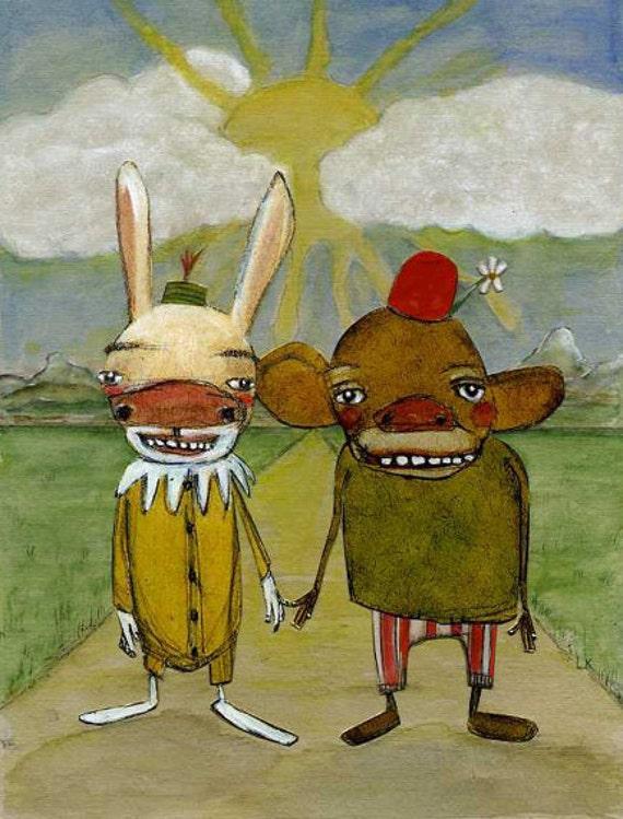 Whimsical Art Print, Giclee, Matted, Sale, Children's Art, Outdoors, Rabbit, Friendship, Monkey, Pals, Best Friends