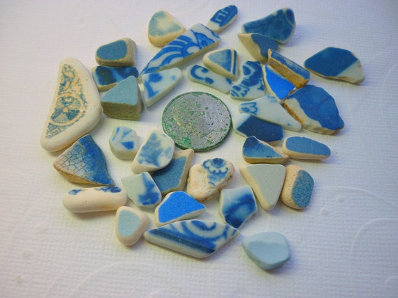 Sea Pottery Shards Mosaic Art Jewelry Craft - 40 Pieces    SP46