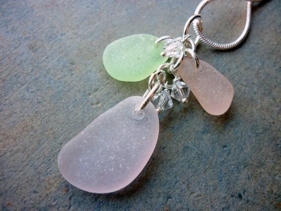 Pastel Sea Glass Necklace Pendant Pink Purple Mint