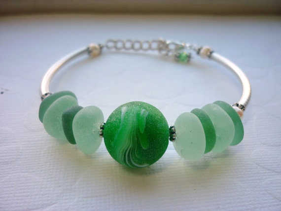 Sea Glass Bracelet Sea Foam Green Beach Glass Marble Sterling