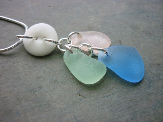 Sea Glass Necklace Seaglass Button Windchime Pink Blue Sea Foam